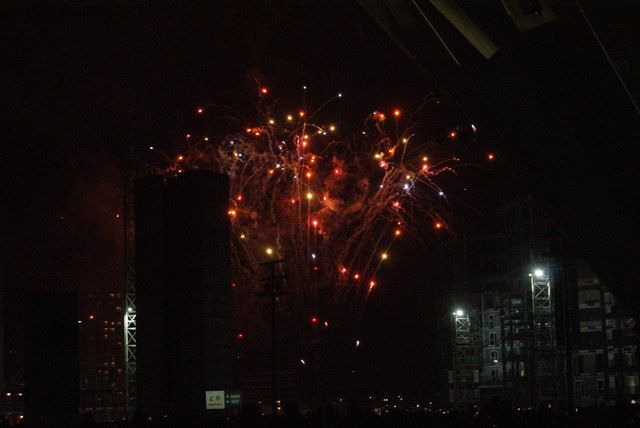 View of fireworks in the Light Up the Night event from the Wembley Stadium walkway #4