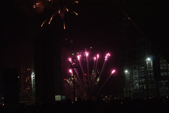 View of fireworks in the Light Up the Night event from the Wembley Stadium walkway #5