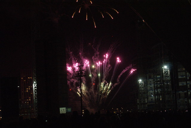View of fireworks in the Light Up the Night event from the Wembley Stadium walkway #6