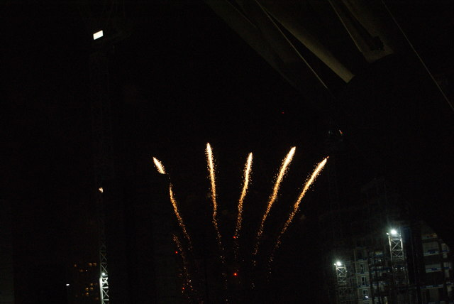 View of fireworks in the Light Up the Night event from the Wembley Stadium walkway #8
