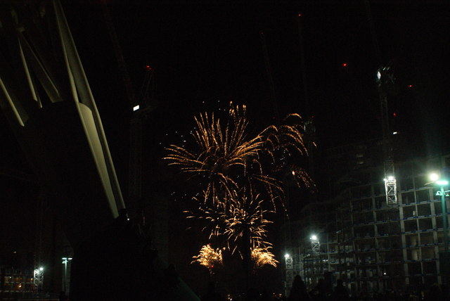 View of fireworks in the Light Up the Night event from the Wembley Stadium walkway #12