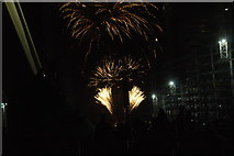 TQ1985 : View of fireworks in the Light Up the Night event from the Wembley Stadium walkway #13 by Robert Lamb