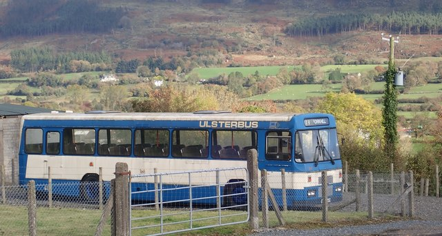 A Classic Ulsterbus Leyland Tiger with the Forkill Valley and the lower slopes of Slieve Gullion providing a fitting background