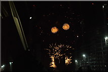 TQ1985 : View of fireworks in the Light Up the Night event from the Wembley Stadium walkway #15 by Robert Lamb