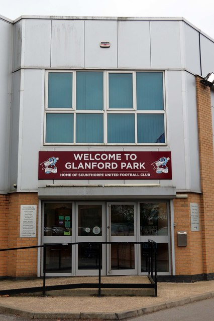 The main entrance to Glanford Park