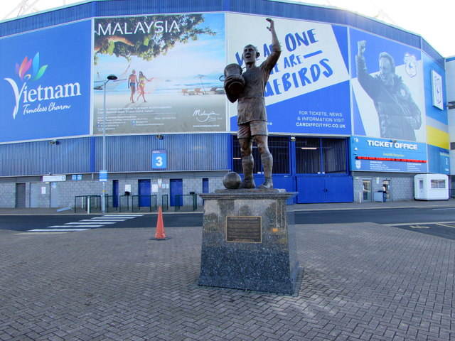 Fred Keenor statue outside Cardiff City Stadium