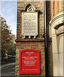 TQ3480 : An inscription and a notice, St Peter's Church Clergy House by Wapping Lane, Wapping by Robin Stott