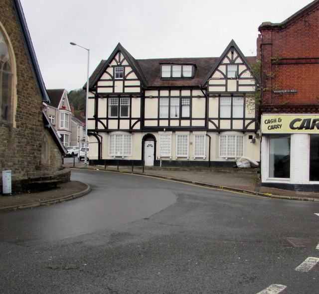 Black and white building on a Morriston corner, Swansea