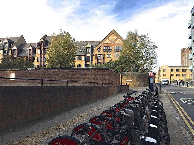 TfL/Santander bikes near the junction of Reardon Street and Wapping Lane, Wapping