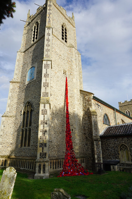 A river of poppies at St Michael's Church, Reepham