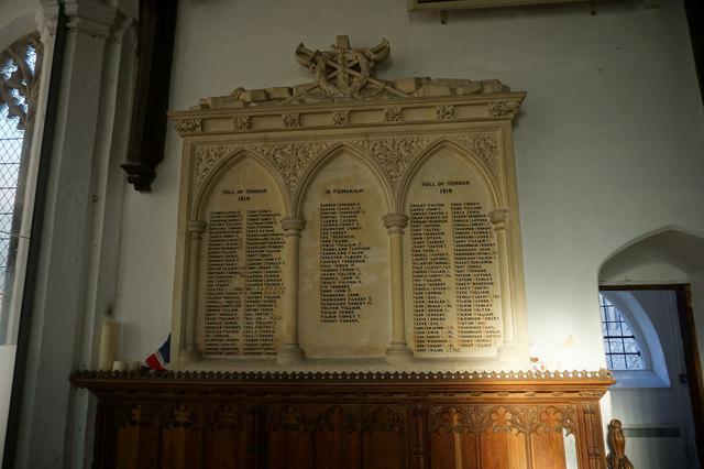 WW1 Roll of Honour, St Michael's Church, Reepham