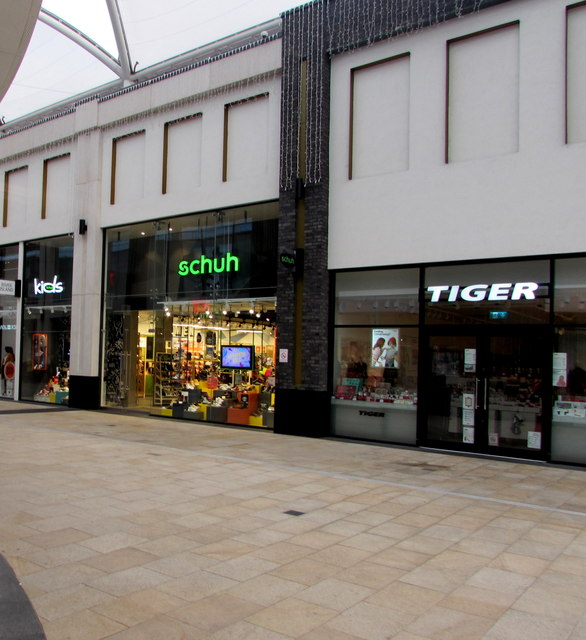 Schuh and Tiger on the upper level of Friars Walk, Newport