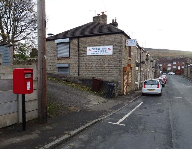 Elizabeth II postbox on Demesne Drive, Stalybridge