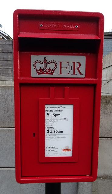 Close up, Elizabeth II postbox on Demesne Drive, Stalybridge
