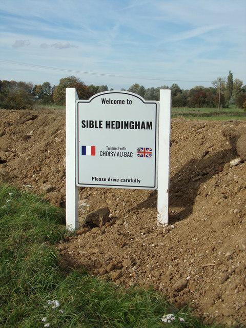 Sible Hedingham Village Name sign