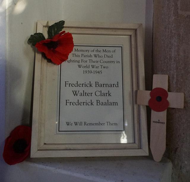 WW2 memorial plaque