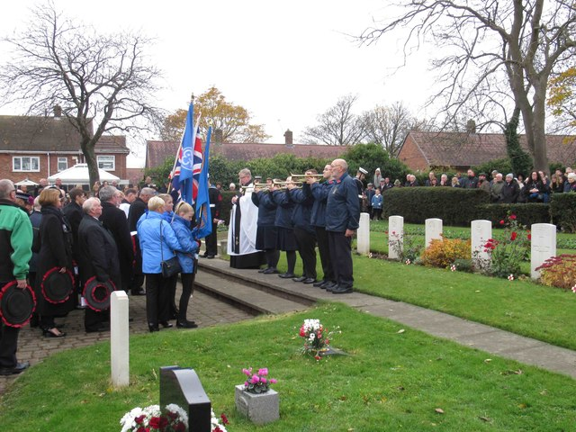 Playing the Last Post at the Memorial for HMS Kelly in Hebburn Cemetery