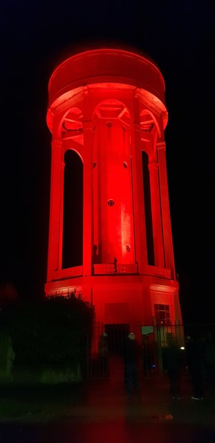 Tilehurst Water Tower lit for the 100th anniversary of the Armistice