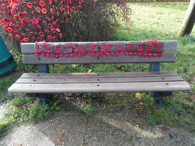 Seat with Commemorative Poppies in Prestwood