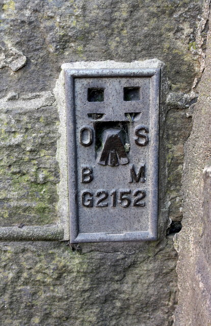 Benchmark on building on south side of Burnley Road