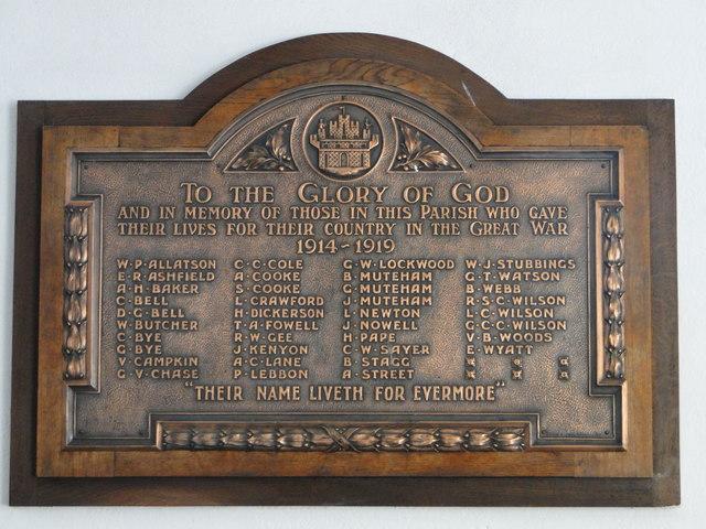 Thetford St. Peter's church WW1 memorial