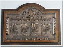TL8683 : Thetford St. Peter's church WW1 memorial by Adrian S Pye