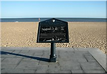 TG5307 : Plaque on Great Yarmouth beach by Evelyn Simak