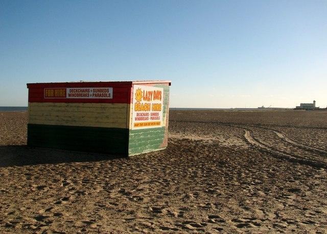 Deckchairs hut on Great Yarmouth's beach