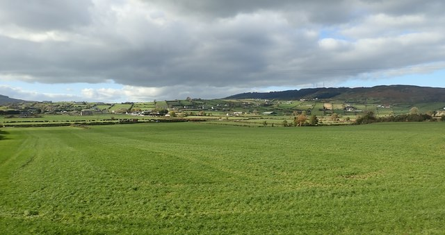 Flat, fertile farmland between the B113 and Carn Hill