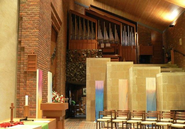 The organ loft at Robinson College chapel
