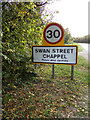 TL8927 : Swan Street Village Name sign on Swan Street by Adrian Cable