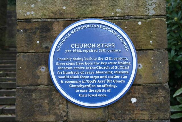 Rochdale: Blue Plaque explaining the Church Steps