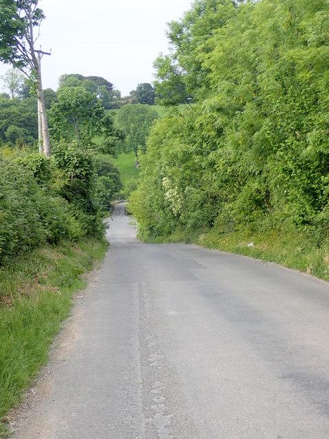 Tullybrannigan Road descending northwards towards Priest's Bridge