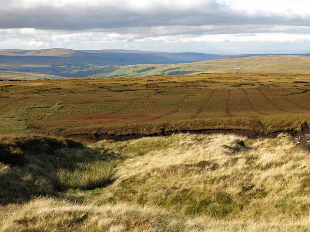 Peat haggs and grips on moorland above Windy Brow