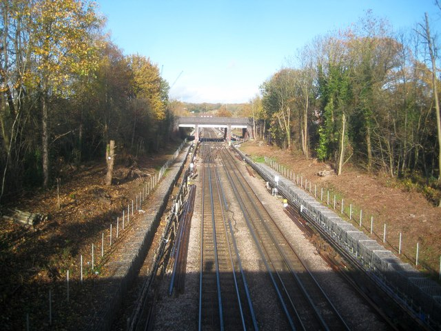 Jubilee Line railway between Canons Park and Stanmore