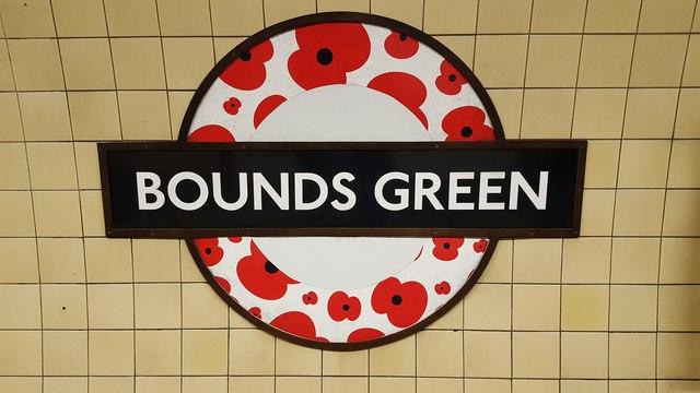 Roundel on Southbound Platform at Bounds Green Underground Station