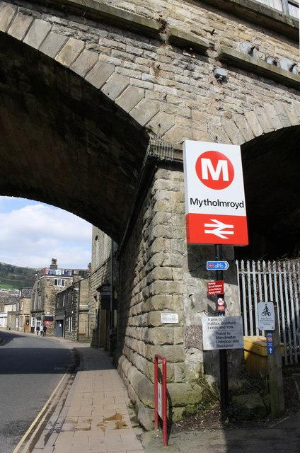 Railway bridge over New Road at entrance to Mytholmroyd Station