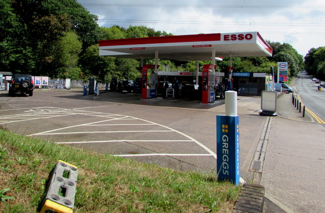 Entrance to the Esso filling station, Newport Road, Trethomas