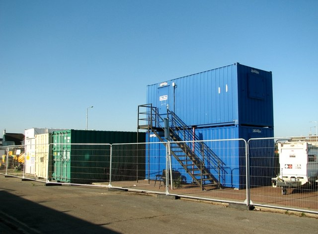 Site office and containers by the boating lake