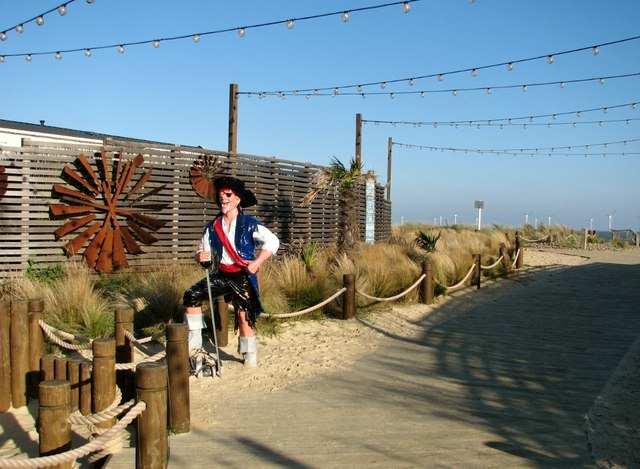 Pirate by the entrance to the caravan park at North Denes
