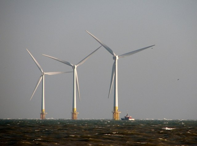 Wind turbines and supply vessel at Scroby Sands