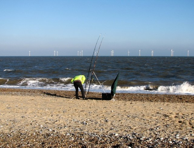 Beach fishing at North Denes