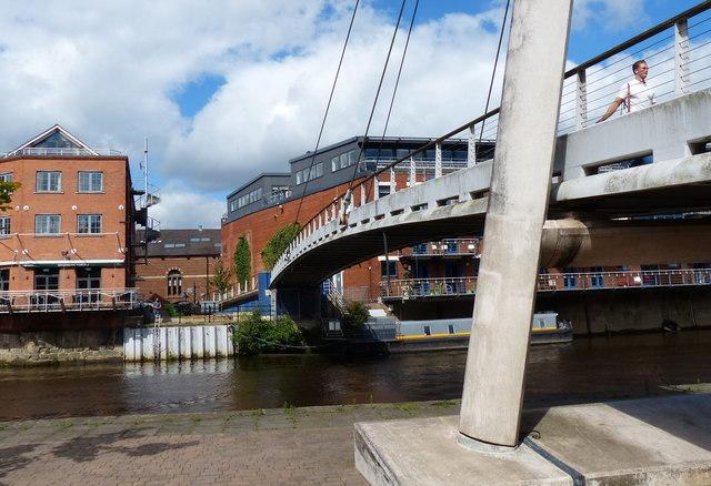 Centenary Footbridge crossing the River Aire in Leeds