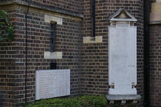 War memorials on the former parish church of St Michael, Golders Green