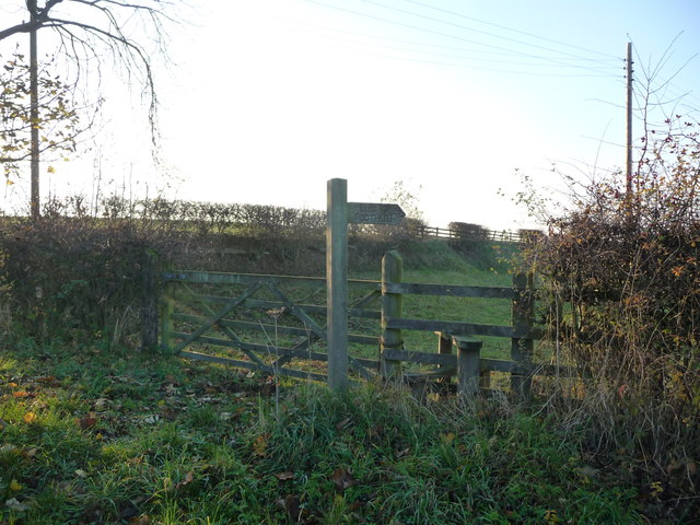Public footpath signpost and stile, Sneck Gate Lane