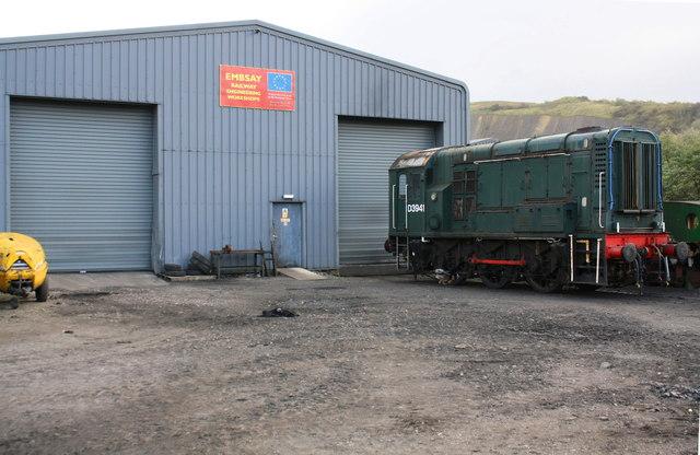 Diesel locomotive outside Embsay Railway Engineering Workshops