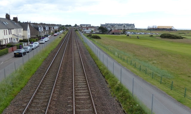 The Edinburgh to Aberdeen railway line at Carnoustie