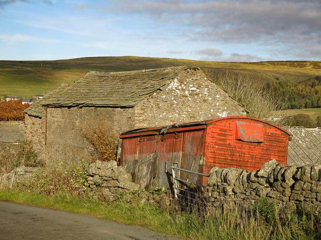 Barn and old railway goods van above Nenthead