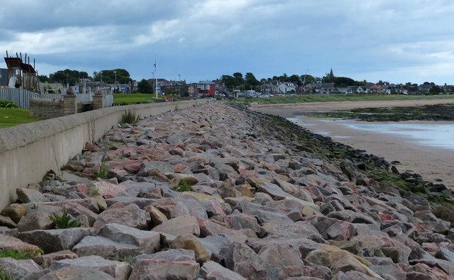Sea defences at Carnoustie Beach