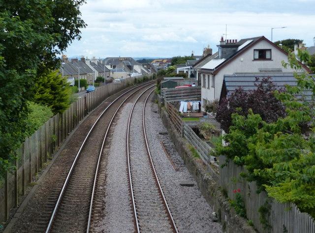 Edinburgh to Aberdeen railway line at Carnoustie